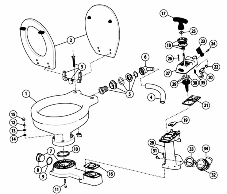 yacht maintenance jabsco toilet exploded view